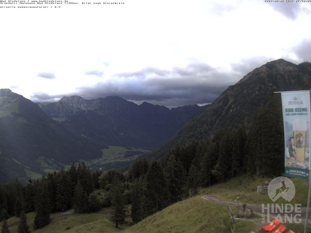 Webcam Hornbahn Hindelang Bergstation mit Blick nach Hinterstein