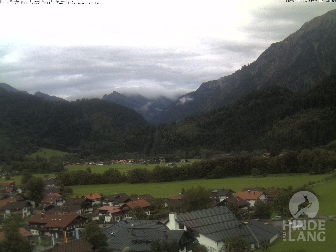 Webcam Standort Kirchturm Bad Hindelang mit Blick Richtung Hinterstein
